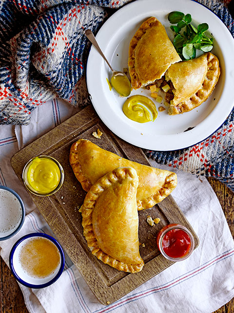 Cornish pasty on tray