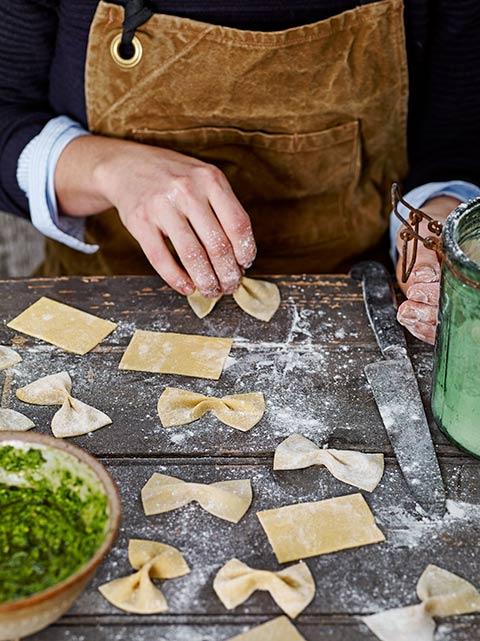 Homemade farfalle pasta