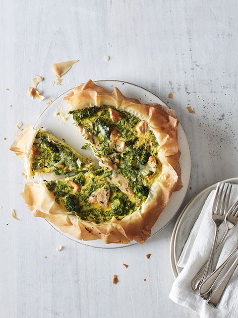 Broccoli and salmon filo tart