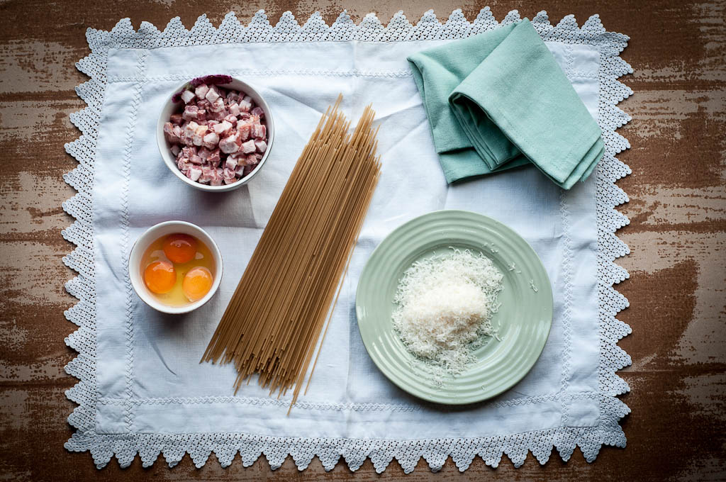 gluten-free pasta carbonara ingredients