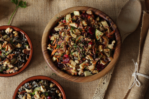 Gluten-free party food: wild rice salad