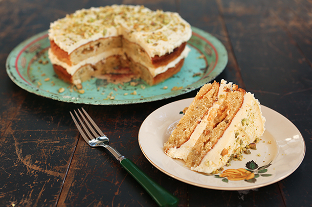 Chetnas Pistachio white chocolate cake Jamie Oliver Features