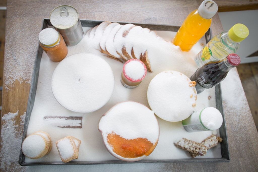 Image of a tray of food that is high in sugar covered in sugar