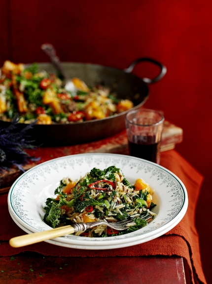 Image of fried rice with kale, squash and chestnuts
