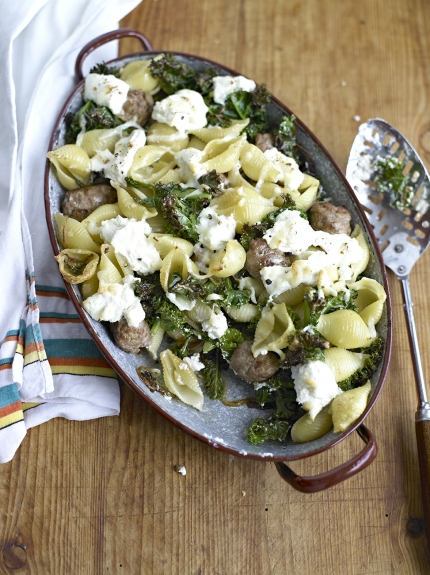 Image of kale, sausage and ricotta bake