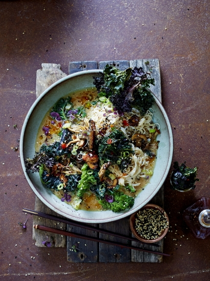 "Image of ""super noodle"" ramen with kale and mushrooms"