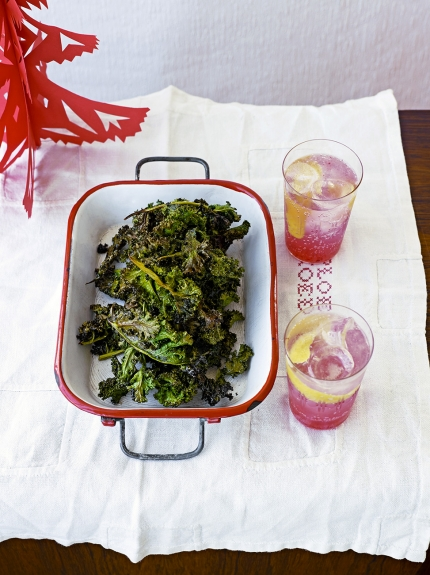 Image of salt and cinnamon kale crisps in a baking dish
