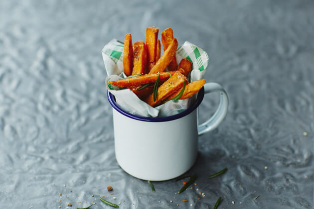 Image of a pot of cooked sweet potato fries