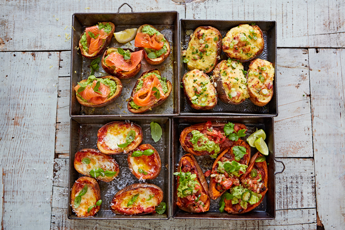 Loaded potato skins 4 incredible ways jamie oliver for Canape recipes jamie oliver