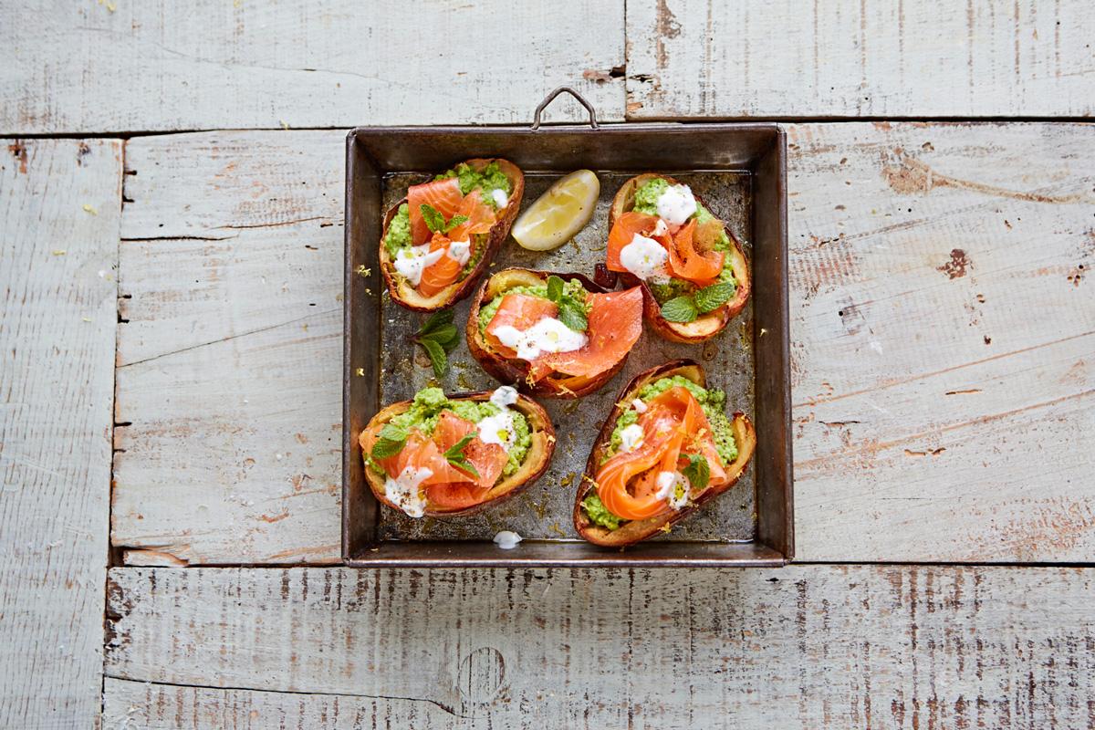Smoked Salmon, Creme Fraiche, And Caviar Potato Skins Recipes ...