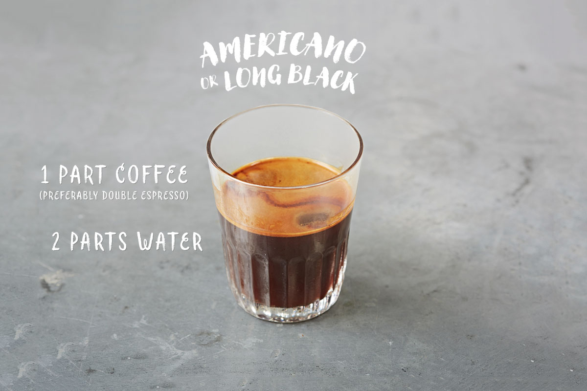 Espresso shots are topped with hot water to produce a light layer of crema. The result is this wonderfully rich cup with depth and nuance. Pro tip: for additional caffeine, ask your barista to try this with an extra shot (75 mg caffeine per shot).