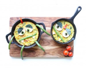 Making fruit and veg fun for kids: omelette monsters