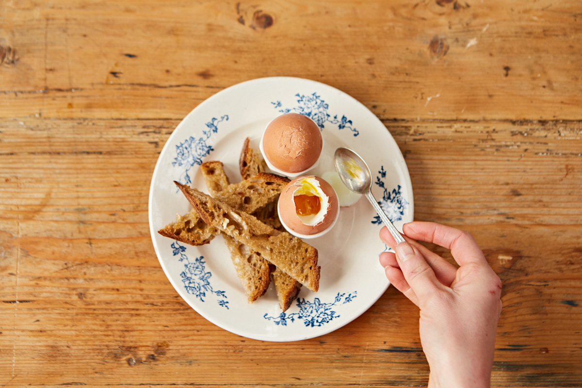 Image of a plate with boiled eggs and toast soldiers