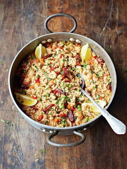 Chicken Chorizo Paella Rice Recipes Jamie Oliver