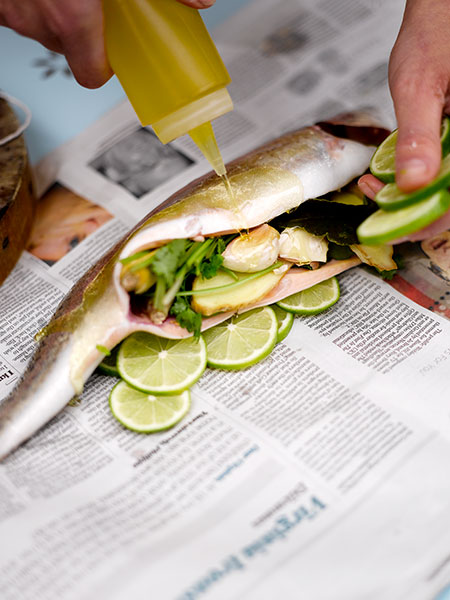 Barbecued fish - the first step