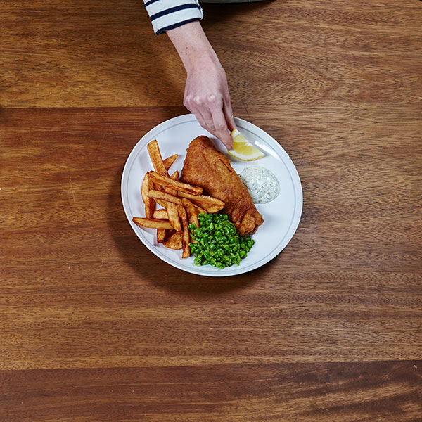 Fish and chips - serving