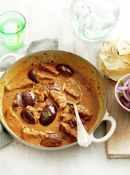 Vegetarian meals - spiced aubergine and coconut curry