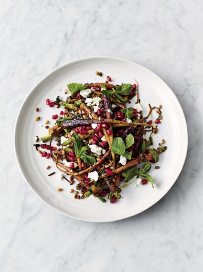 carrot and grain salad with pomegranate
