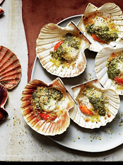 grilled scallops on shells