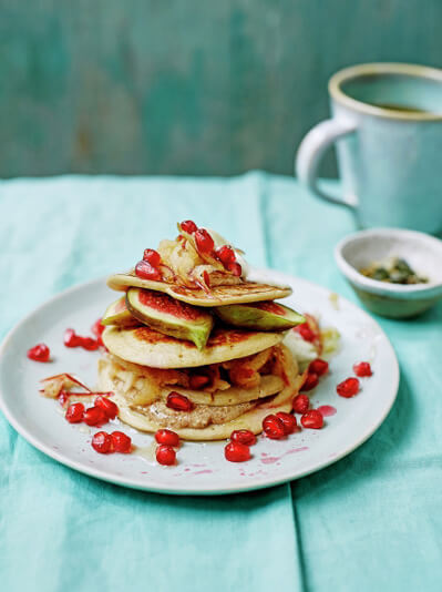 healthy, gluten free pancakes with fruit