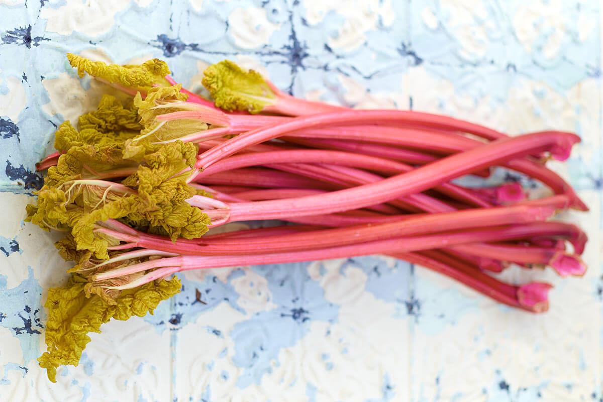 bunch of ripe rhubarb