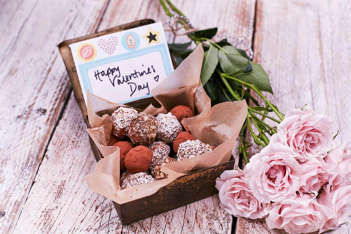 box of truffles and a Happy Valentine's Day note