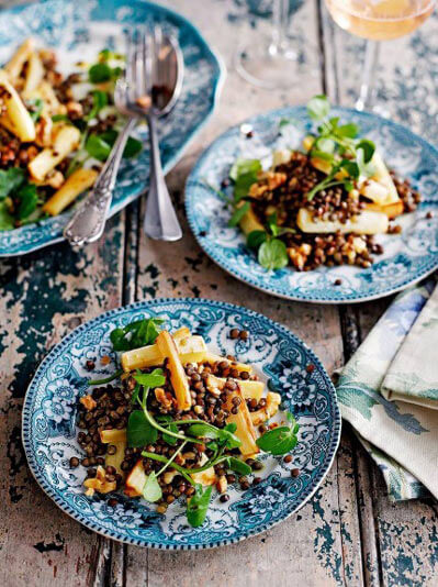 lentil, parsnip and walnut salad