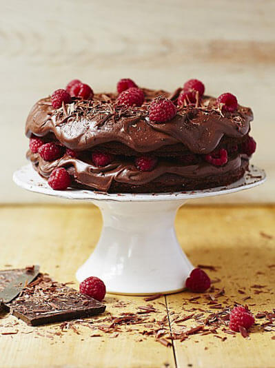 Image of vegan chocolate cake on a cake stand