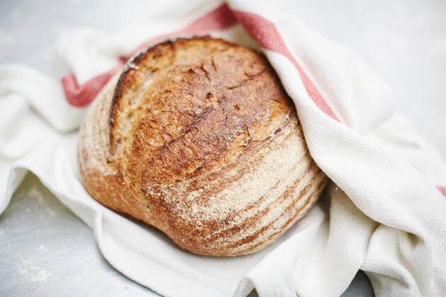 Image of a baked loaf of sourdough