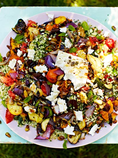 Griddled veg, vegetarian recipes