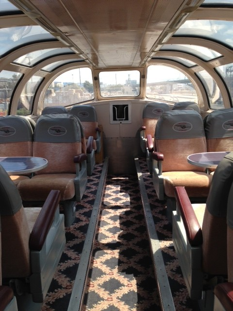 The inside of the 1948 California Zephyr dining car where the meals were shared.