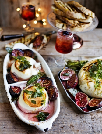 Whole roasted ricotta with honeyed figs