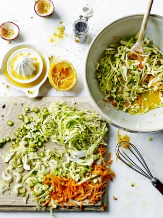 Sweetheart slaw with passion fruit dressing