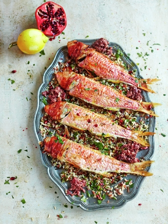 Red mullet with jewelled wild rice jamie oliver for Rice recipes to go with fish