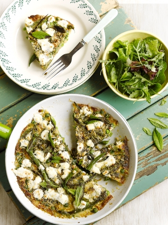 Summer vegetable & goat's cheese frittata