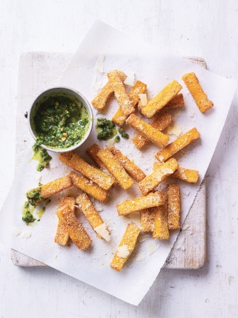 Baked polenta chips with pesto dip