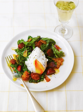 Kale, fried chorizo & crusty croutons with a poached egg | Jamie ...