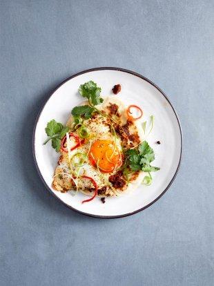 Tikka-spiced fried eggs