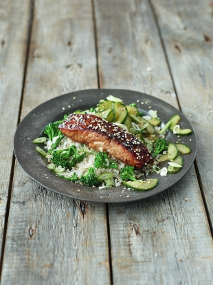 Sticky Asian-style salmon with broccoli, quick pickled cucumber rice