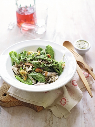 Chicken & lentil salad with caper dressing