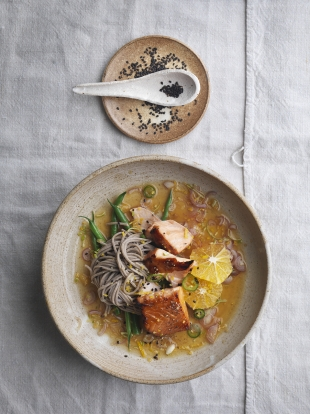 Salmon soba with ginger citrus dressing   Salmon recipes   Jamie magazine recipes