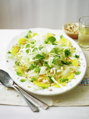 Sliced fennel, orange & almond salad
