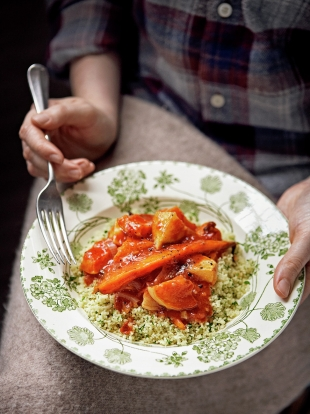Roasted root vegetable & squash stew with herby couscous