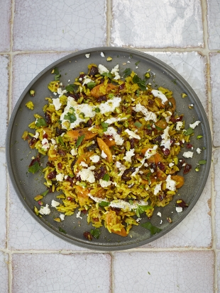 Veggie pilaf with toasted nuts feta