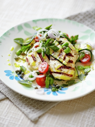 Griddled Halloumi And Vegetables Jamie Oliver Recipes