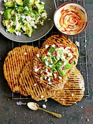 Quick Flatbreads with Avocado Feta | Bread Recipes | Jamie Oliver