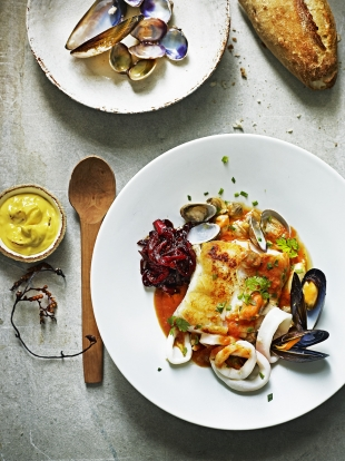 Seafood stew with saffron mayo & pepper marmalade