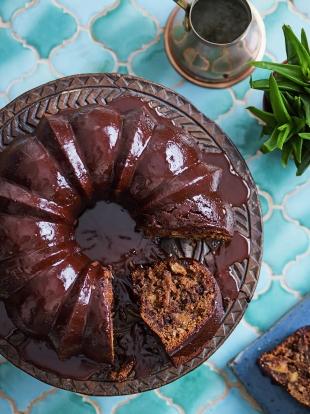 Spiced chocolate dried fig Christmas cake | Chocolate recipes | Jamie magazine recipes