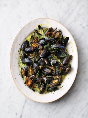 Creamy Cornish mussels