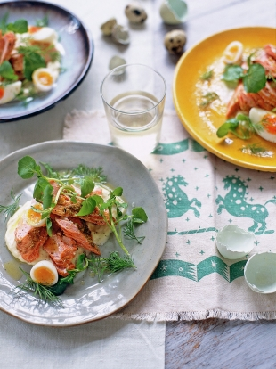 Fennel-roasted salmon with soft-boiled eggs